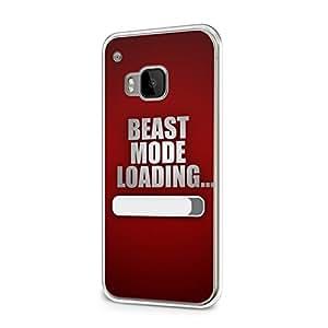 Beast mode loading... Rojo HTC uno M9 con tapa protectora de España con texto cita vintage FUN