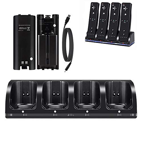 Wii Charger Dock for Wii/ Wii U Remote Controller, 4 Port Charger Station with 4 Batteries Pack USB Charging Cable LED Indicator -Black