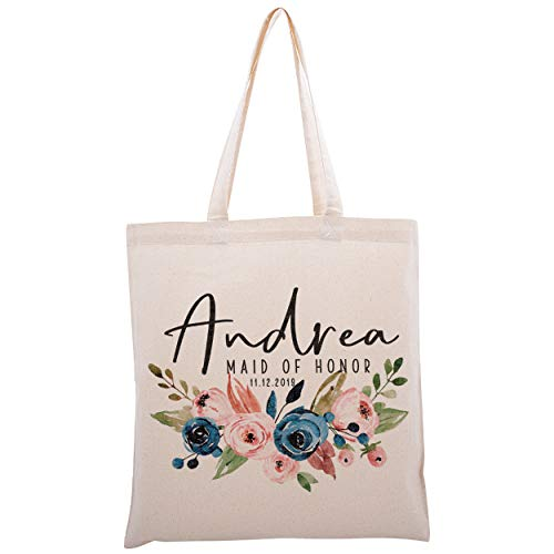 Personalized Tote Bag For Bridesmaids Wedding Customized Bachelorette Party Bag (Maid Of Honor Tote)