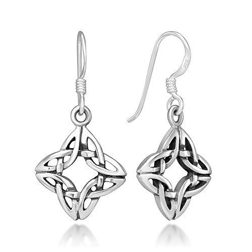 (925 Sterling Silver Square 4-Side Open Celtic Knot Symbol Dangle Hook Earrings, 30 mm)