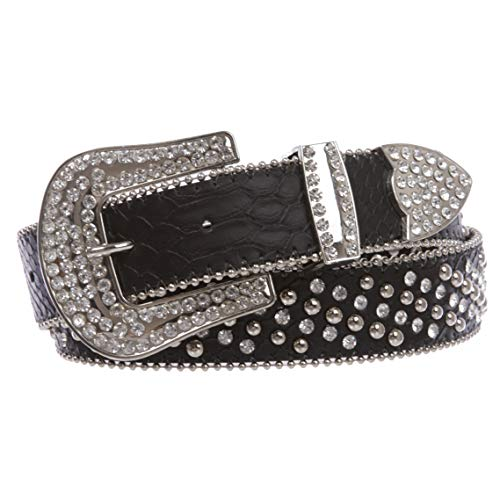 Cowgirl Western Rhinestone Nail Head Riveted Studs Faux Alligator Leather Belt, Black | s/m 31
