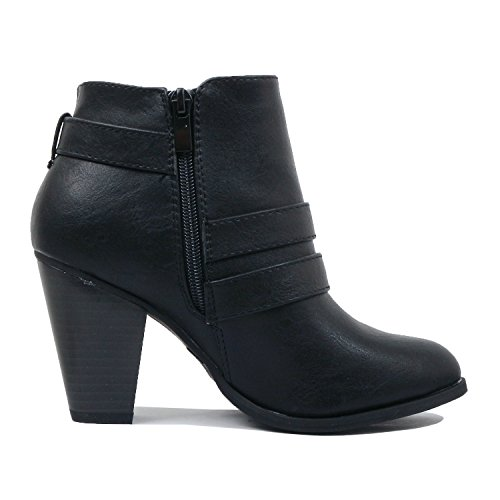 Blackv1 Bootie Comfortable Pu Boots Closed Guilty Chunky Block Womens Heart Toe Ankle Mid Heel wqqxZ