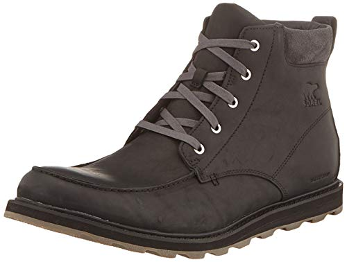Sorel - Men's Madson Moc Toe Waterproof Boot, All-Weather Footwear for Everyday Wear, Black/Dark Grey, 11.5 M US