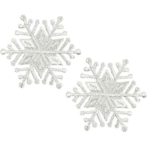 (Expo International Christmas Medium Star Snowflake Iron-on Applique Trim Embellishment, Silver, 2-Pack)