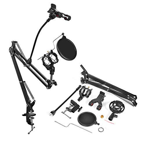 Luling Arts Desktop Microphone Stand with Metal Base Fixed,Mic Pop Filter,Detachable Universal Cell Phone Holder,Adjustable Suspension Boom Scissor Arm Stands for Radio,Broadcast,Studio and Recording