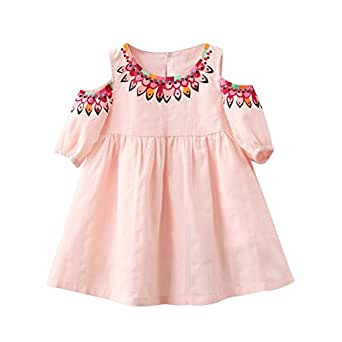 Verypoppa Baby Girls Summer Cold Shoulder Print A-Line Dress (2-3 Years, Pink)
