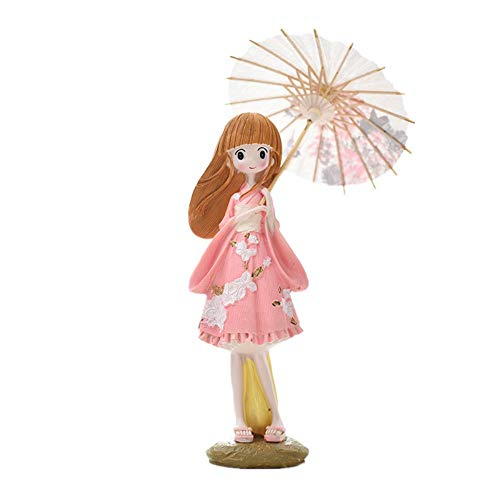 (TLLDX Figurine Figurines Statue Statues Statuettefigurine Resin Lovely Kimono Girl Figurines Girl with Umbrella Miniatures Japan Crafts for Vintage Home Decor)