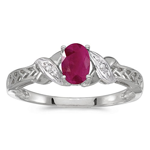 FB Jewels 10k White Gold Genuine Red Birthstone Solitaire Oval Ruby And Diamond Wedding Engagement Statement Ring - Size 9 (0.36 Cttw.)
