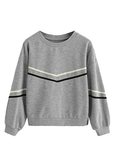 32b21c0567f7fe SweatyRocks Women s Casual Sweatshirts Crewneck Long Sleeve Color Block  Sweatshirt Pullover Tops