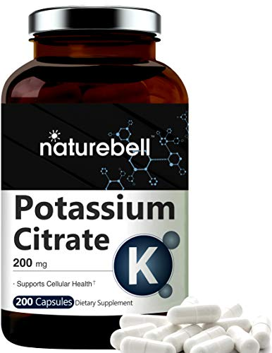 Maximum Strength Potassium Citrate Capsules, 200mg, 200 Counts, Strongly Support Vascular Health, No GMOs and Made in…
