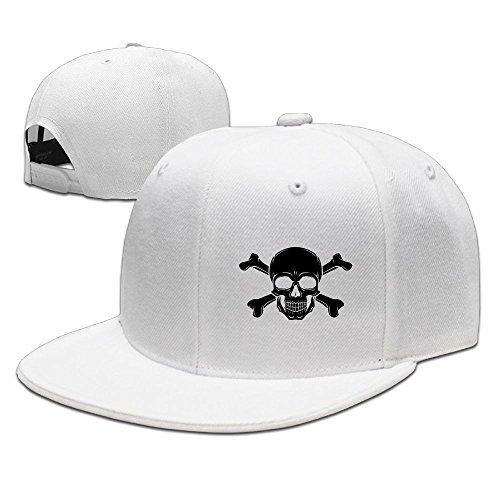[Pirate Skull Hip Hop Flat Brim Cap Men Womens Baseball Hat amusing Adjustable Snapback Cool Plain Trucker Hats For Dance,Neo-Jazz,Street Jazz,Reggea] (Pirate Tooth Cap With Skull)