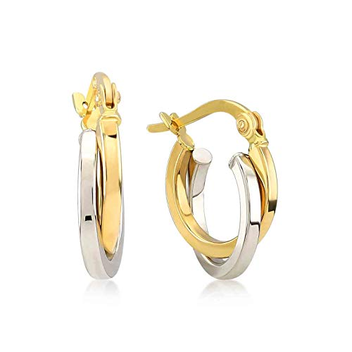 GELIN 14k Two-Tone Yellow and White Gold Intertwined Round 3mm Thick Hoop Earrings for Women, Diameter 0.50""
