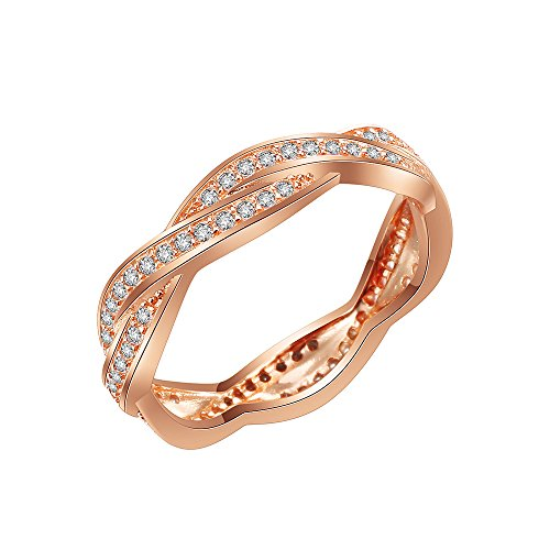 (Lavencious Woven 925 Sterling Silver Statement Ring with Full AAA White CZ Band (Rose Gold, 5))