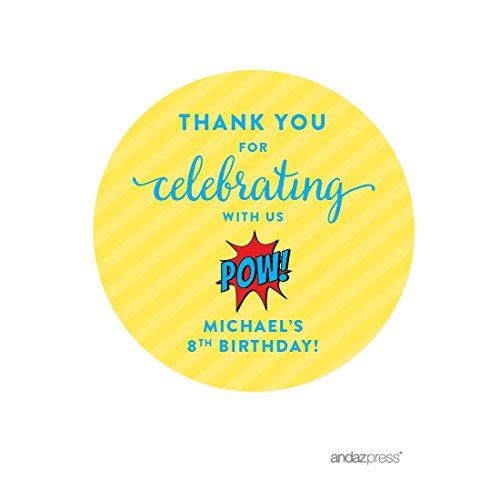 Andaz Press Personalized Birthday Round Circle Labels Stickers, Thank You for Celebrating with Us, Superhero Pow Bam, 40-Pack, for Gifts and Party Favors, Custom Name -