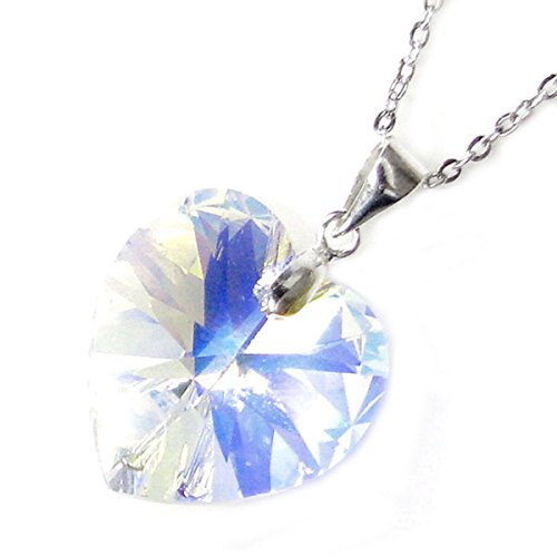 Sterling Silver Swarovski Elements Crystal Clear AB Love Heart Pendant Necklace, 16'' with 2