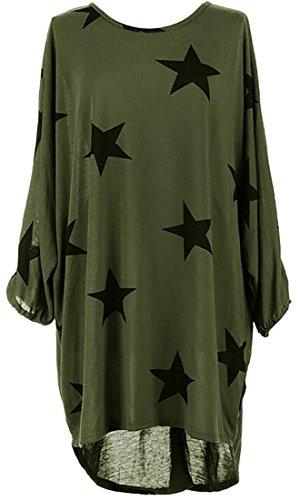 Jaycargogo Casual Loose Long Women Print Sleeve Star Dress Green Shirt qrfa1q