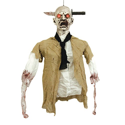 Animated Hanging Zombie (Halloween Haunters Animated Hanging Zombie Reaper that Shakes & Speaks Prop Decoration - Knife Through Skull, Red LED Eyes - Battery Operated)