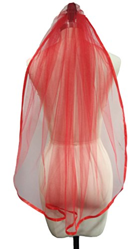 Dobelove Women's Ribbon Edge with Comb 1 Tier Wedding Veil