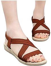 Reokoou Sandals for Women Summer Ladies Platform Sandal Casual Slip-On Wedge Ankle Strap Open Toe Walking Shoes