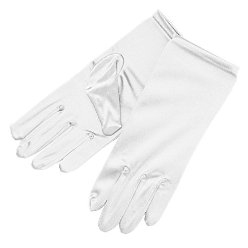 ny Stretch Satin Dress Gloves Wrist Length Adult Evening Party Glove ,One Size,White (Short White Satin Gloves)