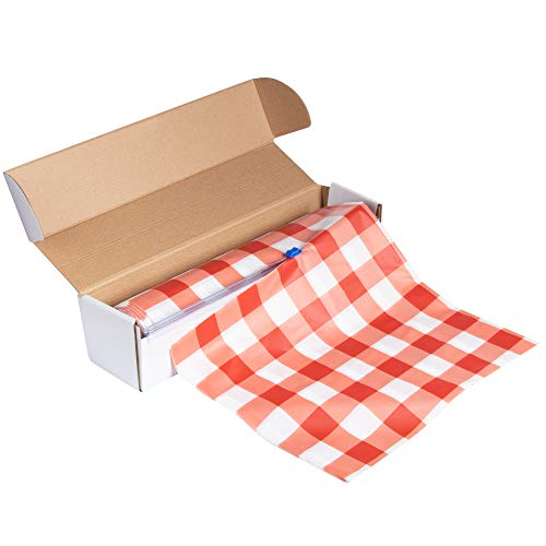 Red Plastic Tablecloth Roll - 98 Feet x 54 Inches Disposable Table Cover On a Roll with Self-Cutter Box Dispenser, Fits 4.5 Feet Wide Tables, Picnic, Indoor Outdoor Party Supplies, Red Gingham]()
