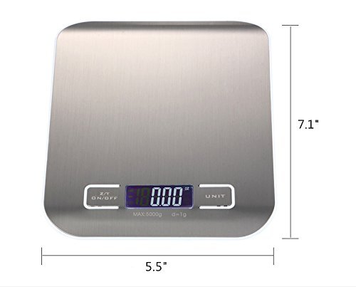High Precision Measurement Accuracy Stainless Steel Digital Kitchen Scale Heavy Duty Touch Sensitive Electronic Food/Lab Scale Range From 0.05oz (1g) to 11lbs 5kg (Batteries Included)