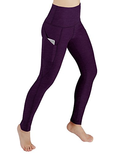 ODODOS High Waist Out Pocket Yoga Pants Tummy Control Workout Running 4 way Stretch Yoga Leggings,DeepPurple,Medium