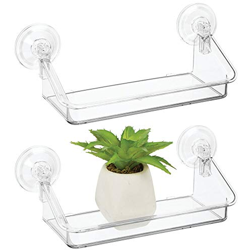 mDesign Plastic Suction Decorative Home Storage Organizer Shelf - Hanging Mirror/Window Basket -