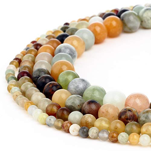 (Natural Multi Color Jade Gemstone Beads Round Loose Beads Fit Bracelet Earring Necklace DIY Handmade Charms Spacer Beads Jewelry Making Findings 15 inch 1 Strand 6MM)