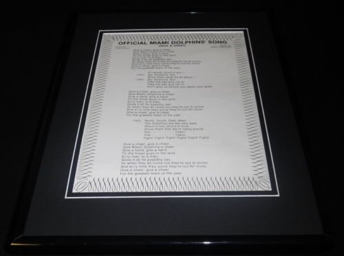 Lyrics 1980 Song (Vintage 1980 Official Miami Dolphins Song Lyrics Framed 11x14 Photo Display)