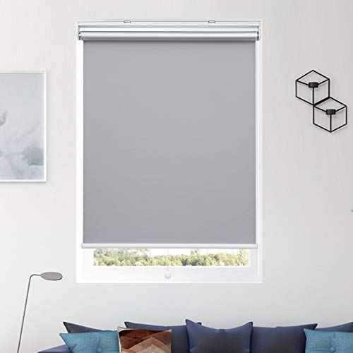 Donutse Gray Window Shades and Blinds for Home Blackout Cordless Roller Shades with Spring Systerm, 23″ W x 72″ H