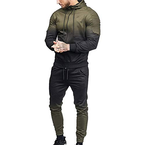 (Welcome the good future Men Tracksuit Sport Set Striped Shirt Long Sleeve Fitness Pants Running Suit Plus Size Jacket Trousers,Army Green Set,M)