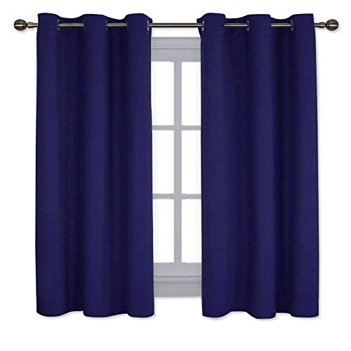 NICETOWN All Season Thermal Insulated Solid Grommet Top Blackout Curtains/Drapes/Panels for Kid's Room (Dark Blue, 1 Pair,42 x 63 Inch)