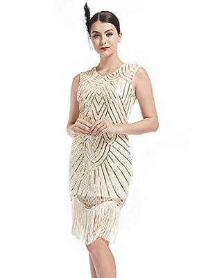 KILOLONE Flapper Dresses 1920s Vintage Sequins Beaded Great Gatsby Dress