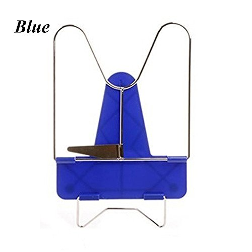Convenient Adjustable Durable Angle Foldable Portable Reading Book Stand Document Holder Desk Office Supply Stainless Steel Rack Plastic Base (Blue) (Holder Document Adjustable)