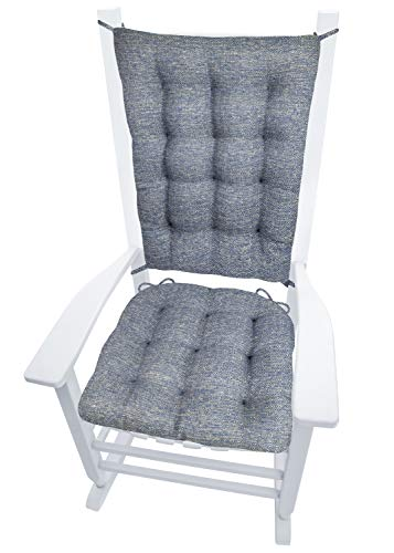 Brisbane Colonial Blue Rocking Chair Cushions - Size Extra-Large - Latex Foam Fill - Seat Cushion & Back Rest Pad - Reversible - Basketweave Upholstery