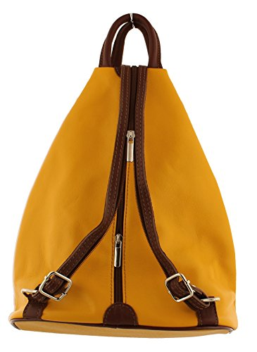 Handbag Leather Mustard Shoulder Backpack F264 Rucksack Soft xzARpR