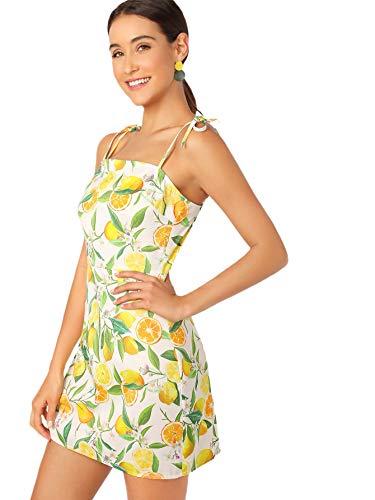 Floerns Women's Halter Neck Floral Print A-Line Mini Dress Yellow S