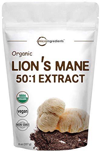 Sustainably US Grown, Organic Lions Mane Mushroom Powder (50:1 Extract), 8 Ounce, Strongly Supports Mental Clarity, Focus, Memory, Nervous System and Immune System, No GMOs and Vegan Friendly