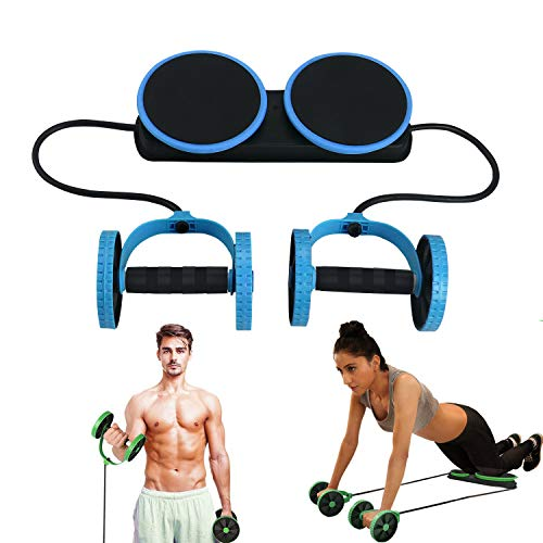 MACUNIN Multi Function Double AB Roller Wheel Exercise Equipment for Home Gym,Abdomen and Arm Workout Equipment Waist Slimming Trainer for Man and Women (Blue) (Best Abs Workout For Men At Home)