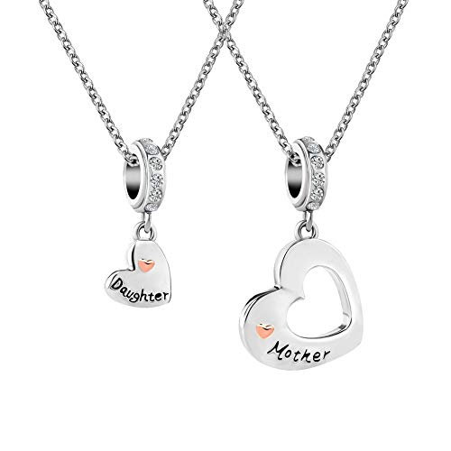 CharmSStory Mom Mother Daughter Heart Love Dangle Charm Beads for Snake Chain Bracelet (Mother Daughter Charms -