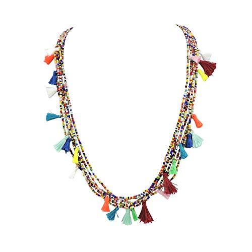 "BOCAR Long Multiple 6 Strand Handmade Beaded Statement 31"" Necklace with Tassel Pendant for Women (NK-10579) (579)"