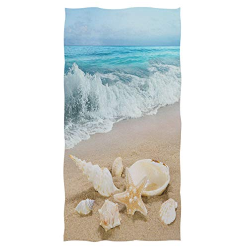 Wamika Beach Seashell Starfish Hand Towels Sea Ocean Wave Bathroom Towel Ultra Soft Highly Absorbent Multipurpose Towels for Hand,Face,Gym,Sports Home Decor, 16x30 in (Ocean Theme Towel Set)