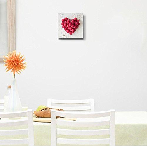 Heart Shape Formed by Fresh Raspberries Fruits Art Wall Decor