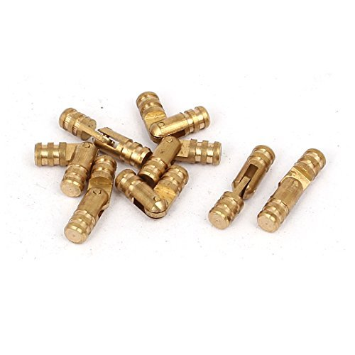 DealMux Cabinet 4mm x 17mm Cylinder Folded Support Hinge Brass Tone 8pcs