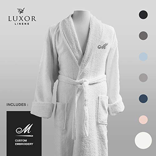 - Luxor Linens - Terry Cloth Bathrobes - 100% Egyptian Cotton Bathrobe- Luxurious, Soft, Plush Durable Set of Robes (White, Custom)