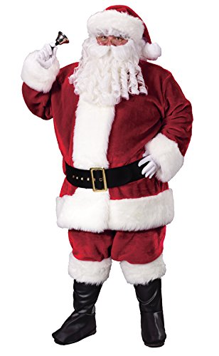 UHC Crimson Santa Plush Suit Holiday Theme Party Christmas Plus Size Costume, Plus (Santa Plush Crimson Plus Size Costumes)