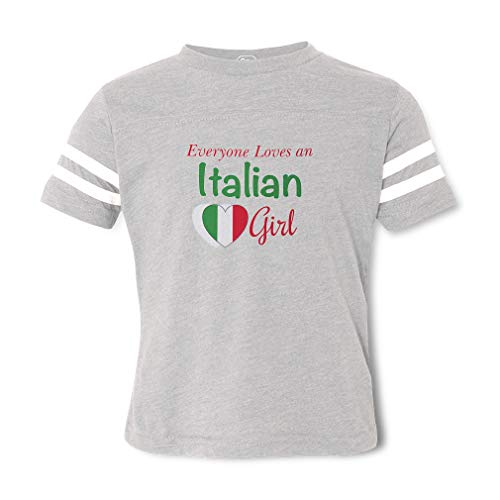 Everyone Loves an Italian Girl Contrasting Stripes Crewneck Toddler Boys-Girls Cotton/Polyester Football T-Shirt Sports Jersey - Sport Gray, 4T