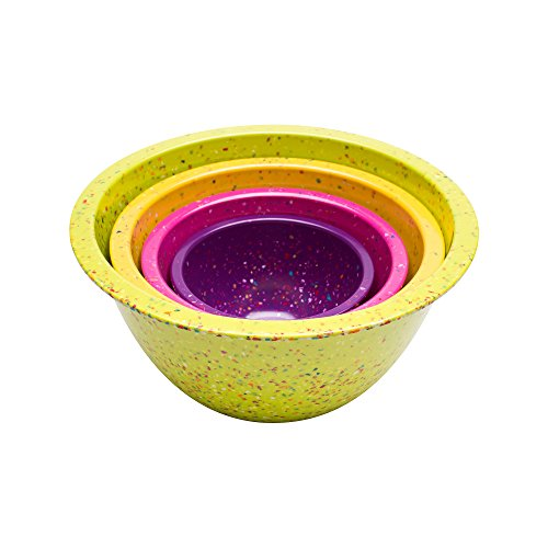 Zak Confetti Recycled Plastic 10.63 inches Large x 8.88 inches Medium x 7.13 inches Small Mixing Bowl Set - Flora