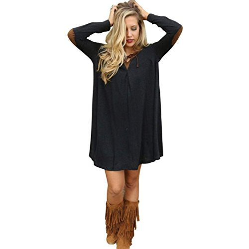 [VESNIBA Autumn Personality Loose And Comfortable Long Sleeved Dress (M, Black)] (Dance Costumes Online America)